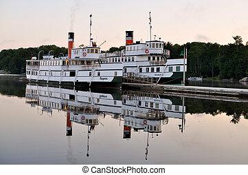 Old steam boat - Restored Segwun steamboat at sunrise