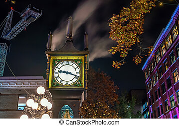 Old Steam Clock in Vancouver's historic Gastown district at ...