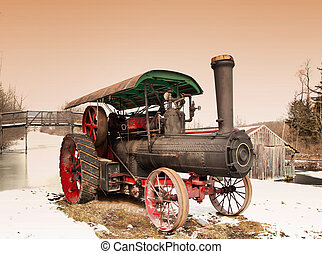 old steam engine on the shore of the Erie Canal in Camillus, New York