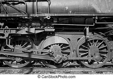 Old steam locomotive - Detail take of wheels and...