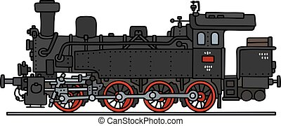 Old steam locomotive - Hand drawing of a classic steam...