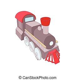 Old steam locomotive icon, cartoon style