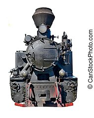 Old steam locomotive isolated on white