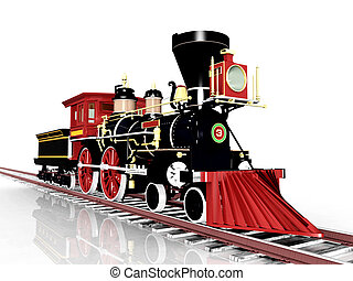 Old Steam Locomotive - Computer generated 3D illustration...