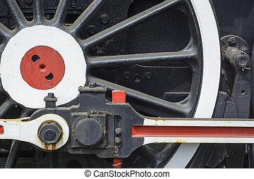 Old steam locomotive wheel
