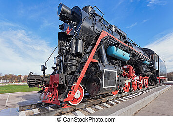 Old steam locomotive with the red star