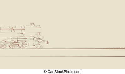 Old steam train cartoon animation