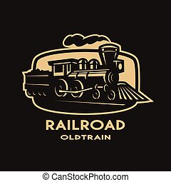 Old steam train emblem, logo.