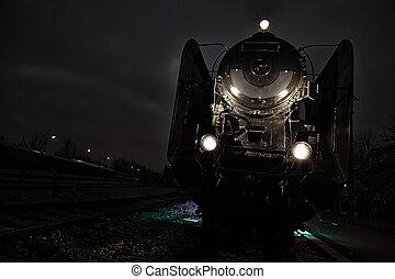 old steam train evening