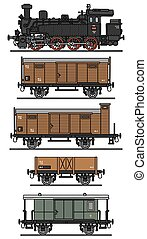Old steam train - Hand drawing of a classic steam train - ...