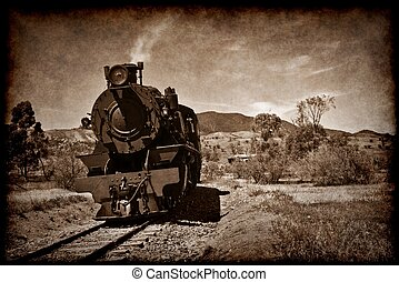 old steam train in grunge - grunge sepia brown image of an...