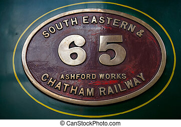 Old steam train manufacturers badge at Sheffield Park Station