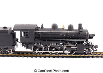 Model Of An Old Time Steam Train, solated Over White