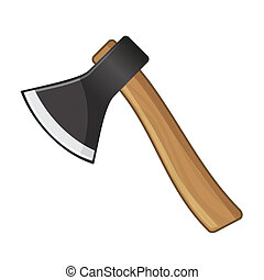 Old Steel Axe on White Background. Vector
