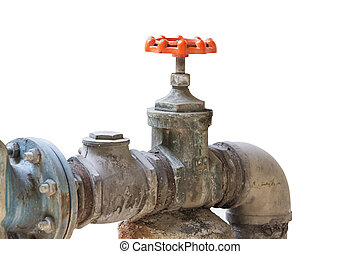 Old steel pipeline and valve,focus on valve