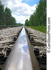 Old steel railroad tracks