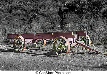 old steel wagon frame used by pioneer