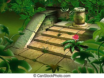 Old steps in jungle - Highly detailed cartoon background 43...