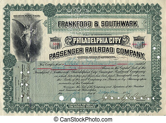 Old Stock Certificate 3 - Photograph of a 19th-Century stock...