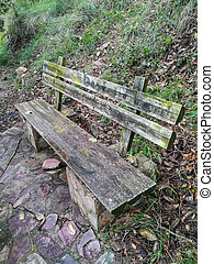 Old stone and wood bench