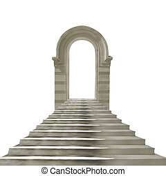 Old stone arch with concrete stairs isolated on white...