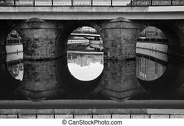 old stone bridge black and white