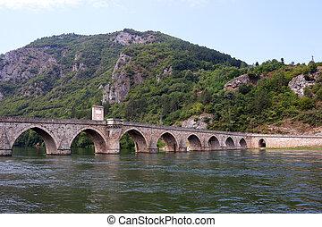old stone bridge landscape Visegrad Bosnia