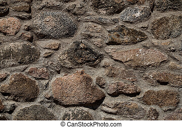 Old Stone Castle Wall Close Up View