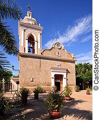 El Quelite church and patio on bright sunny day