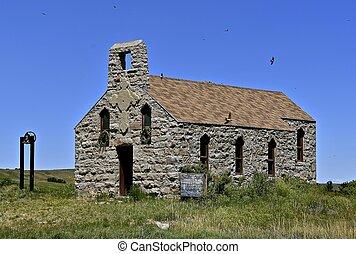 Old stone church on the prairie