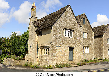 old stone cottage, Lacock - medieval stone cottage,...
