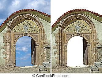 Old stone front door isolated