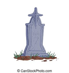Old stone gravestone with cross. Upright tombstone in vintage style. Realistic headstone of ancient cracked religious tomb. Hand-drawn colored vector illustration isolated on white background
