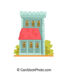 Old stone house with arched windows, ancient architecture building vector Illustration