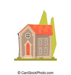 Old stone house with red roof, ancient architecture building vector Illustration