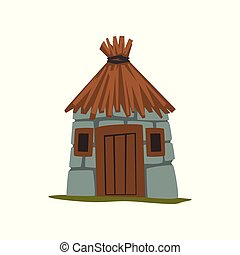Old stone house with thatched roof vector Illustration on a...
