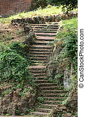 old stone staircase on the hill Janiculum in Rome. Italy