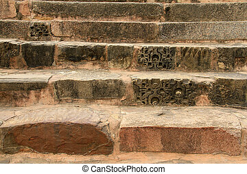 Old stone stairs in Khajuraho, India