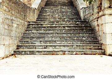 stone stairs - Old stone stairs in the summer and way up