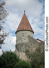 Old stone tower in Rothenburg