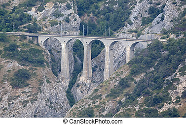 Old stone viaduct in the Swiss mountains