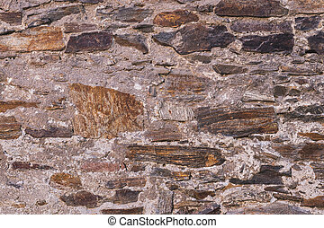 old stone wall, close up view