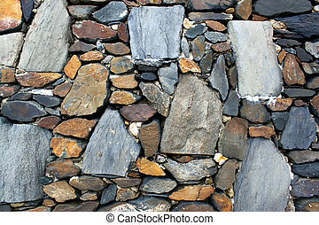 An old stone wall texture with rocks of various shapes and sizes.