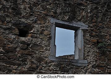 stone wall with window