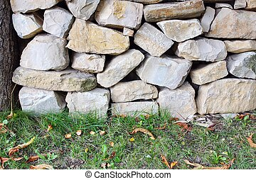 Old Stone White Wall