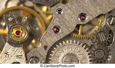 Old Stopwatch Clock Gear Mechanism Ticking Rotating Machine