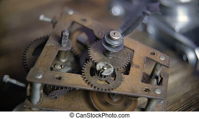 Old Stopwatch Clock Gears Mechanism with Tick-Tick Sound
