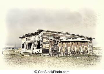 old store and gas station in a gost town