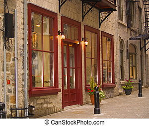 Charming old store fronts in Quebec, Canada