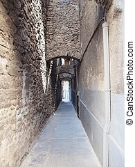 Old street in Aoste - Narrow streets in the old town of...